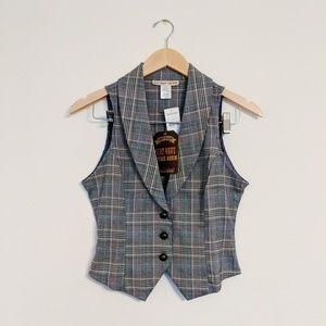 NWT Heat Wave Vintage Plaid Sleeveless Vest